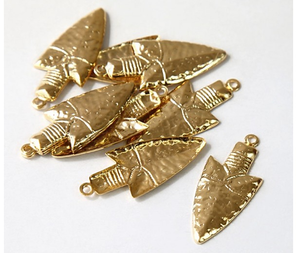 27mm Spearhead Charms, Gold Tone, Pack of 10