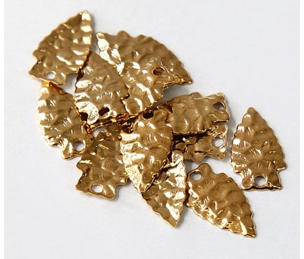 20mm Arrowhead Charms, Gold Tone, Pack of 10