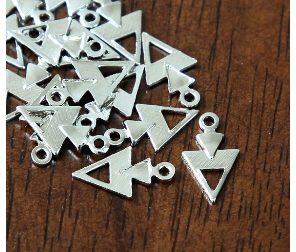 12mm Arrowhead Charms, Rhodium Plated