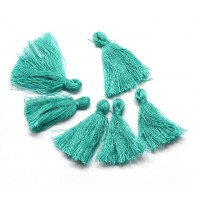 30mm Cotton Tassel Charms, Medium Teal, Pack of 10