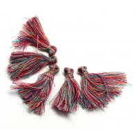 30mm Cotton Tassel Charms, Red and Blue Mix