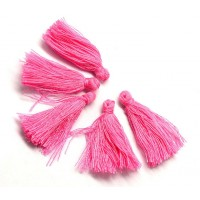 30mm Cotton Tassel Charms, Barbie Pink, Pack of 10