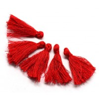 30mm Cotton Tassel Charms, Bright Red