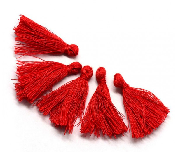 30mm Cotton Tassel Charms, Bright Red, Pack of 10