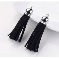 60mm Tassel Pendant, Black, Faux Suede