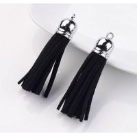 60mm Tassel Pendant, Black, Faux Suede