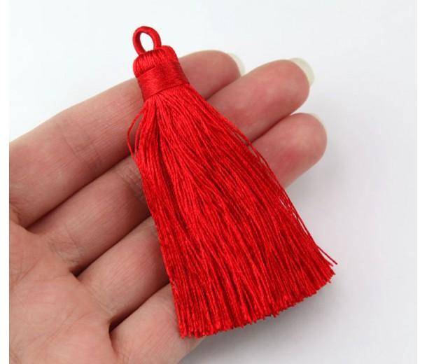 70mm Nylon Tassel Pendant, Red