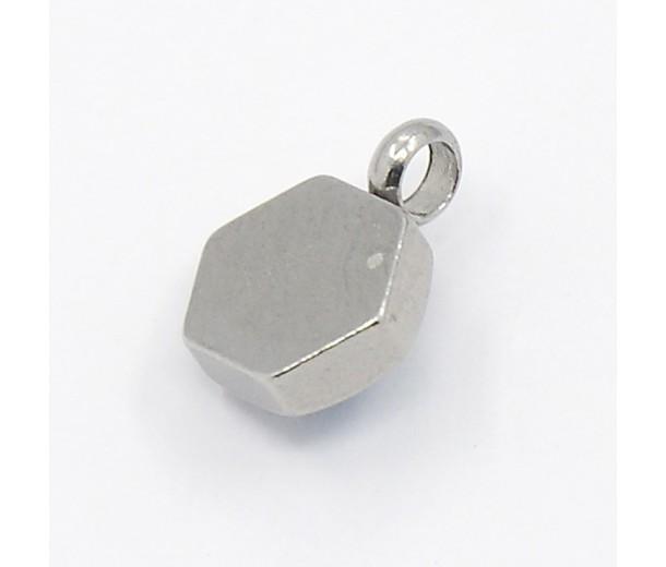 9mm Hexagon Stainless Steel Rhinestone Charms, Aquamarine, Pack of 5