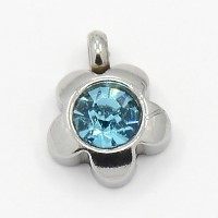 9mm Flower Stainless Steel Rhinestone Charms, Aquamarine, Pack of 5