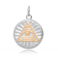 20mm Eye of Providence Charm, Antique Silver and Gold