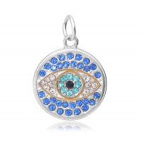 20mm Evil Eye Rhinestone Charm, Rhodium Plated
