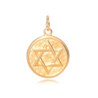 20mm Stainless Steel Star of David Charm, Gold Tone