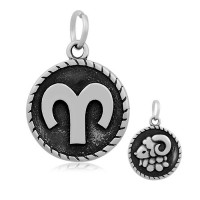 20mm Stainless Steel Zodiac Sign Aries Charm, Antique Silver