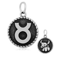 20mm Stainless Steel Zodiac Sign Taurus Charm, Antique Silver