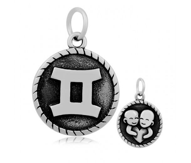 20mm Stainless Steel Zodiac Sign Gemini Charm, Antique Silver