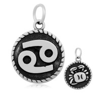 20mm Stainless Steel Zodiac Sign Cancer Charm, Antique Silver