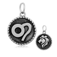 20mm Stainless Steel Zodiac Sign Leo Charm, Antique Silver