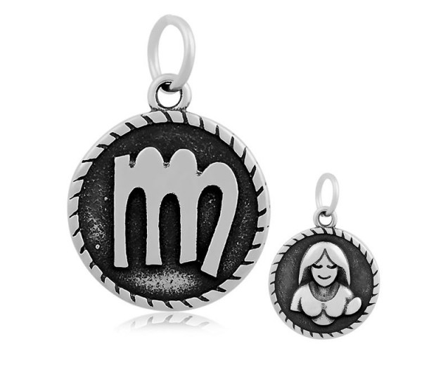 20mm Stainless Steel Zodiac Sign Virgo Charm, Antique Silver