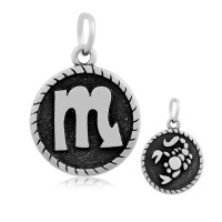 20mm Stainless Steel Zodiac Sign Scorpio Charm, Antique Silver