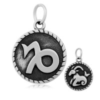 20mm Stainless Steel Zodiac Sign Capricorn Charm, Antique Silver