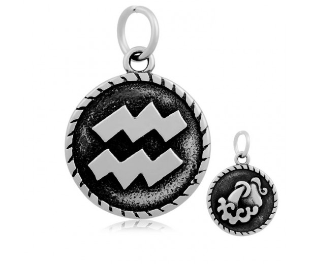 20mm Stainless Steel Zodiac Sign Aquarius Charm, Antique Silver