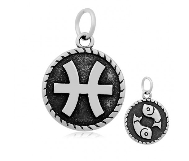 20mm Stainless Steel Zodiac Sign Pisces Charm, Antique Silver