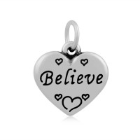 16mm Stainless Steel Heart Charm, Believe, Antique Silver