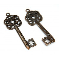 58x22mm Ornate Key Charm, Antique Copper, 1 Piece