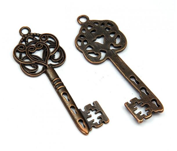 58x22mm Ornate Key Charm, Antique Copper, 1 Piece