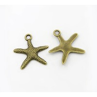 19mm Starfish Charms, Antique Brass