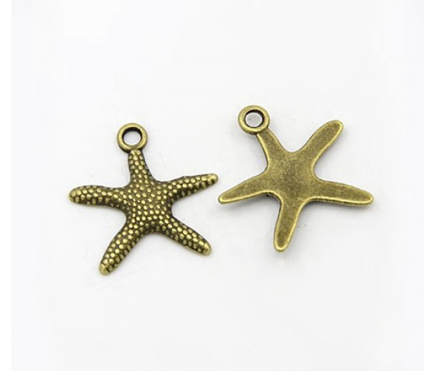 19mm Starfish Charms, Antique Brass, Pack of 5