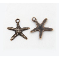 19mm Starfish Charms, Antique Copper, Pack of 5