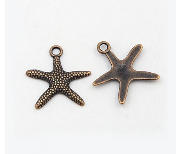 19mm Starfish Charms, Antique Copper