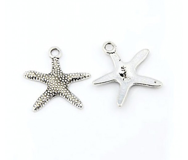 19mm Starfish Charms, Antique Silver, Pack of 5