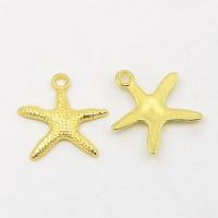 19mm Starfish Charms, Gold Tone, Pack of 5