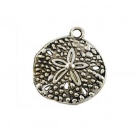 20mm Sand Dollar Charm, Antique Silver, 1 Piece