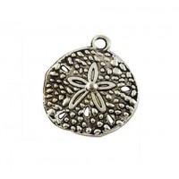20mm Sand Dollar Charm, Antique Silver, 1 Piece