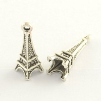 24mm Eiffel Tower Charms, Antique Silver