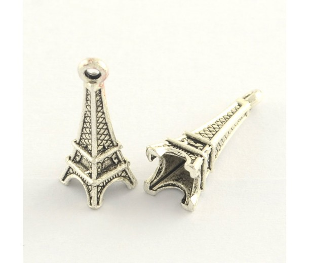 24mm Eiffel Tower Charms, Antique Silver, Pack of 10
