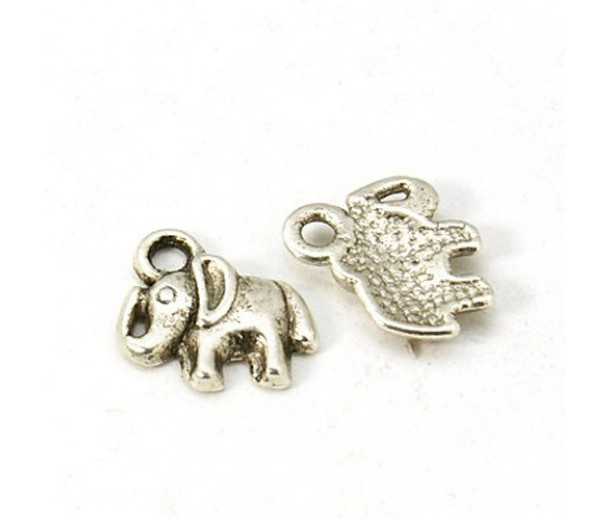 11mm Small Elephant Charms, Antique Silver, Pack of 5