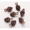 13mm Small Pine Cone Charms, Antique Copper, Pack of 10