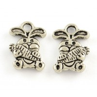 14mm Small Rabbit Charms, Antique Silver