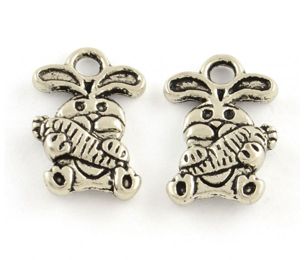 14mm Small Rabbit Charms, Antique Silver, Pack of 10