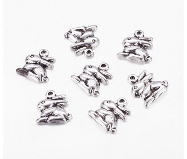 14mm Medium Rabbit Charms, Antique Silver, Pack of 5