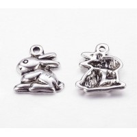 14mm Medium Rabbit Charms, Antique Silver