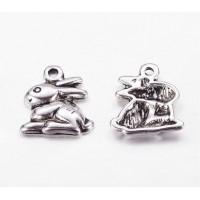14mm Medium Rabbit Charms, Antique Silver