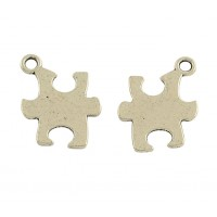 14mm Autism Puzzle Charms, Antique Silver, Pack of 5