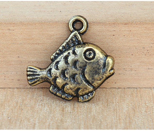 20mm Thick Lips Fish Charms, Antique Gold