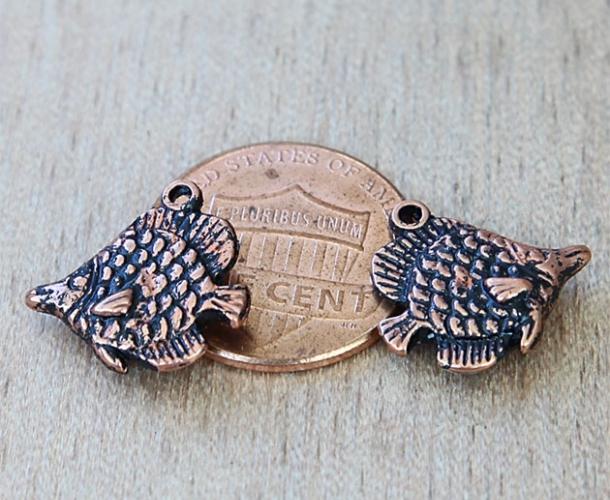 15mm Long Nose Fish Charm Antique Copper Golden Age Beads