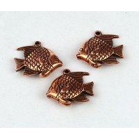 16mm Round Fish Charm, Antique Copper, Pack of 4